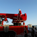 Santa arrives on a Fire Truck
