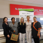 Ellen (Dial a Bed), Belinda Mitchell (Winner), Natelie Kriel (Beacon Bay Retail Park), Ermie Pascoe(Simple Lines) and Carmelita (Sheet Street)