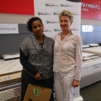 Ermie Pascoe from Simple Lines Interior Design with winner Belinda Mitchell