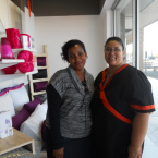 Belinda Mitchell with Sheet Street store manager Carmelita