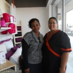 Belinda Mitchell with Sheet Street store manager Carmelita